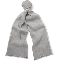 Loro Piana Contrast-Tipped Linen and Baby Cashmere-Blend Scarf