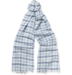 Loro Piana Checked Cashmere, Silk and Hemp-Blend Scarf