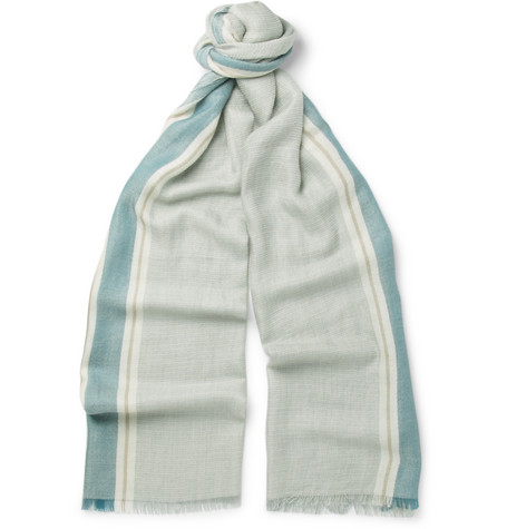 loro piana male 201920 loro piana striped cashmere and silkblend scarf blue