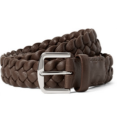 Loro Piana 3.5cm Brown Woven Leather Belt