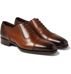 Tom Ford - Austin Cap-Toe Burnished-Leather Oxford Brogues