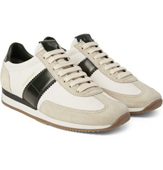 Tom Ford - Leather and Suede-Panelled Canvas Sneakers