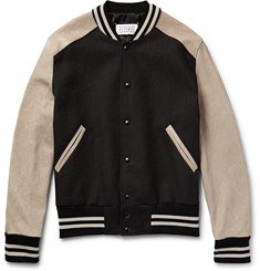 Maison Margiela Leather and Twill Bomber Jacket