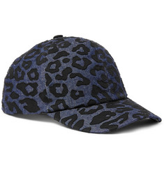Neil Barrett Leopard-Print Denim Baseball Cap