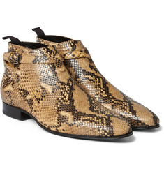 Saint Laurent - Snake-Effect Leather Boots