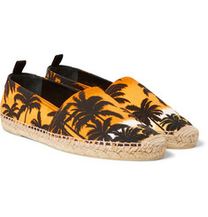 Saint Laurent - Leather-Trimmed Printed Canvas Espadrilles