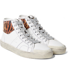 Saint Laurent - Animal Print-Panelled Leather High-Top Sneakers