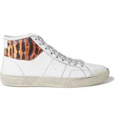 Saint Laurent Animal Print-Panelled Leather High-Top Sneakers