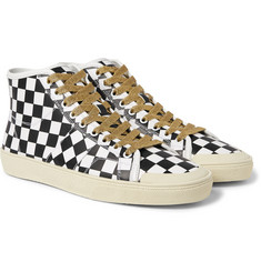 Saint Laurent - Checked Leather High-Top Sneakers