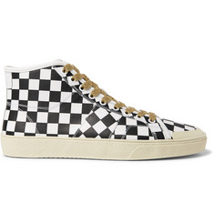 Saint Laurent Checked Leather High-Top Sneakers