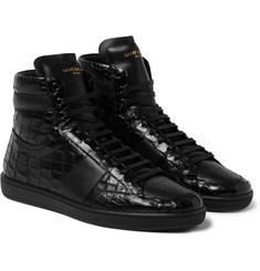 Saint Laurent - Patent Croc-Effect Leather High-Top Sneakers