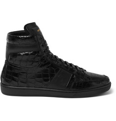 Saint Laurent Patent Croc-Effect Leather High-Top Sneakers