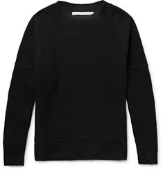White Mountaineering - Stretch Jersey-Trimmed Waffle-Knit Cotton Sweater