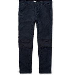 White Mountaineering Slim-Fit Panelled Cotton-Blend and Stretch-Jersey Trousers