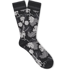 White Mountaineering Leaf-Patterned Cotton-Blend Socks