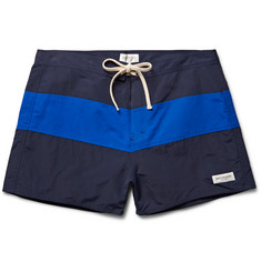 Saturdays NYC Grant Striped Mid-Length Swim Shorts