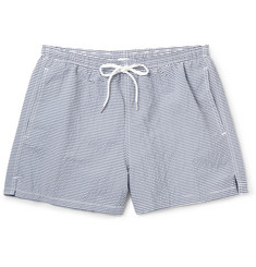 Boglioli Slim-Fit Striped Seersucker Short-Length Swim Shorts