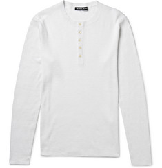 Michael Kors Ribbed Linen and Cotton-Blend Henley Shirt