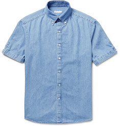 Michael Bastian Slim-Fit Button-Down Collar Cotton-Chambray Shirt