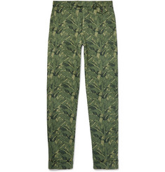 Michael Bastian Skinny-Fit Banana Leaf-Print Cotton-Canvas Trousers