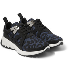 Neil Barrett Leopard-Print Denim and Suede Sneakers