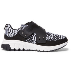Neil Barrett Nubuck and Leather-Trimmed Printed Neoprene Sneakers