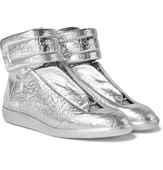 Maison Margiela - Future Metallic Textured-Leather High-Top Sneakers