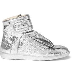 Maison Margiela Future Metallic Textured-Leather High-Top Sneakers