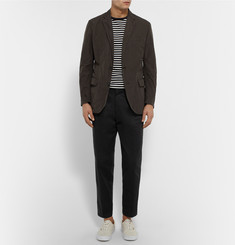 Marvy Jamoke + Beams Dark-Green Slim-Fit Brushed-Shell Blazer
