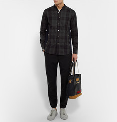 Marvy Jamoke + Beams Slim-Fit Grandad-Collar Plaid Cotton-Twill Shirt