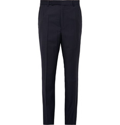 Gieves & Hawkes Midnight-Blue Pinstriped Wool Suit Trousers