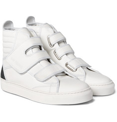 Raf Simons - Panelled Leather High-Top Sneakers