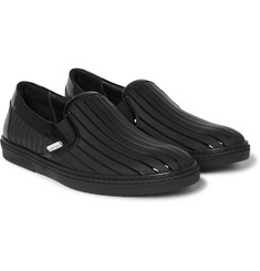 Jimmy Choo - Grove Striped Patent-Leather and Rubber Slip-On Sneakers