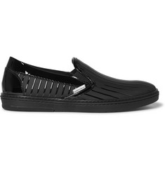 Jimmy Choo Grove Striped Patent-Leather and Rubber Slip-On Sneakers