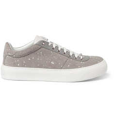 Jimmy Choo Portman Paint-Splattered Suede Sneakers