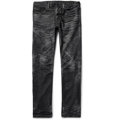 Fabric-Brand & Co - Razor Slim-Fit Distressed Washed Selvedge Denim Jeans