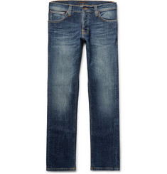Nudie Jeans Grim Tim Slim-Fit Washed Organic Stretch-Denim Jeans