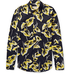 Marni Slim-Fit Floral-Print Cotton-Poplin Shirt