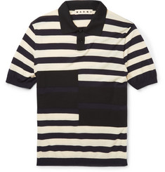 Marni - Striped Cotton and Wool-Blend Polo Shirt