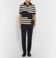 Marni Striped Cotton and Wool-Blend Polo Shirt