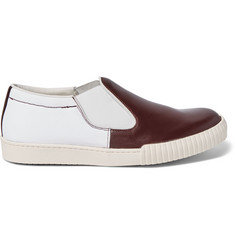 Marni Canvas and Leather Slip-On Sneakers