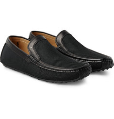 Harrys of London - Jet Moc 5 Leather-Trimmed Woven Silk Loafers