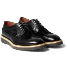 Paul Smith Shoes & Accessories - Grand Suede-Panelled Polished-Leather Wingtip Brogues