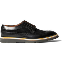 Paul Smith Grand Suede-Panelled Polished-Leather Wingtip Brogues