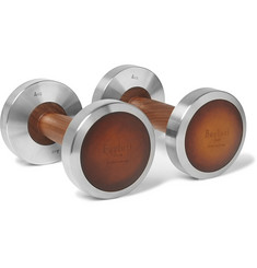 Berluti - + Hock Design Steel, Burnished-Leather and Wood 4kg Dumbbells