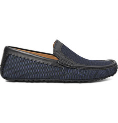 Harrys of London Jet Moc 5 Leather-Trimmed Woven Silk Loafers