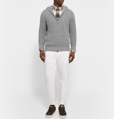 Polo Ralph Lauren Zip-Up Waffle-Knit Cotton and Cashmere-Blend Hoodie