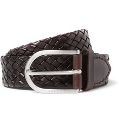 Hugo Boss - 3cm Brown Nailton Braided Leather Belt