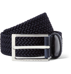 Hugo Boss - 3.5cm Blue Leather-Trimmed Woven Elasticated Belt
