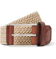 Michael Kors - 4cm Beige Leather-Trimmed Woven Elasticated Belt
